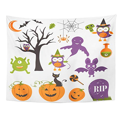 Emvency Tapestry Wall Hanging Art Nature Home Cute Halloween Clipart Cartoon Pumpkin Ghost Spider Tree Autumn Bat for Living Room Bedroom Dorm Decor in 60 x 80 Inches]()