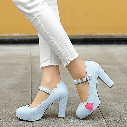 Schnalle Damen Ferse Shoes Blau Block Sweet Schuhe Gericht Mee qST7Xw5x