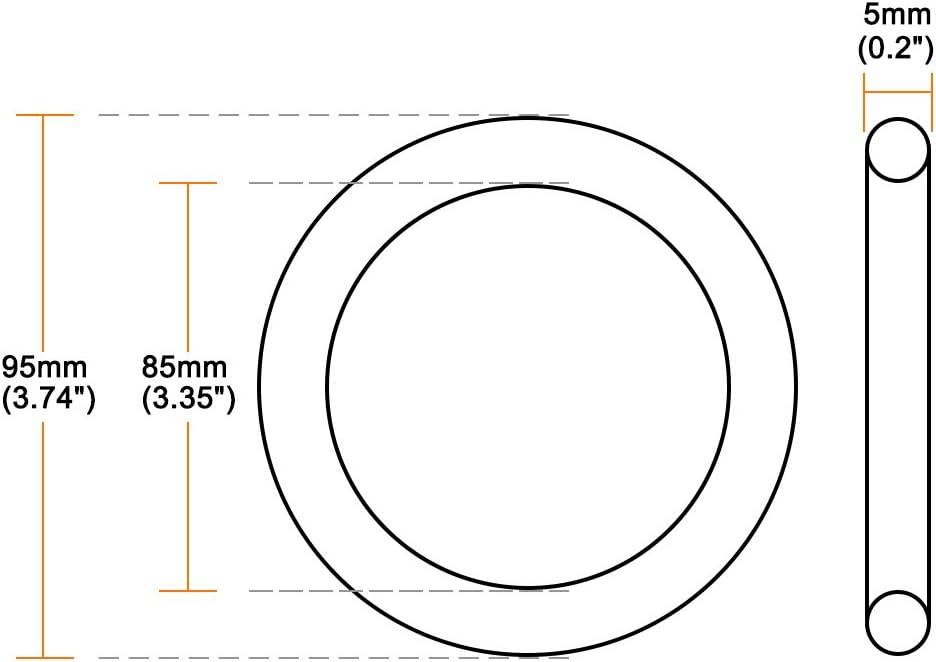 Anillos de goma de nitrilo de 5 mm de grosor junta de sellado de uxcell