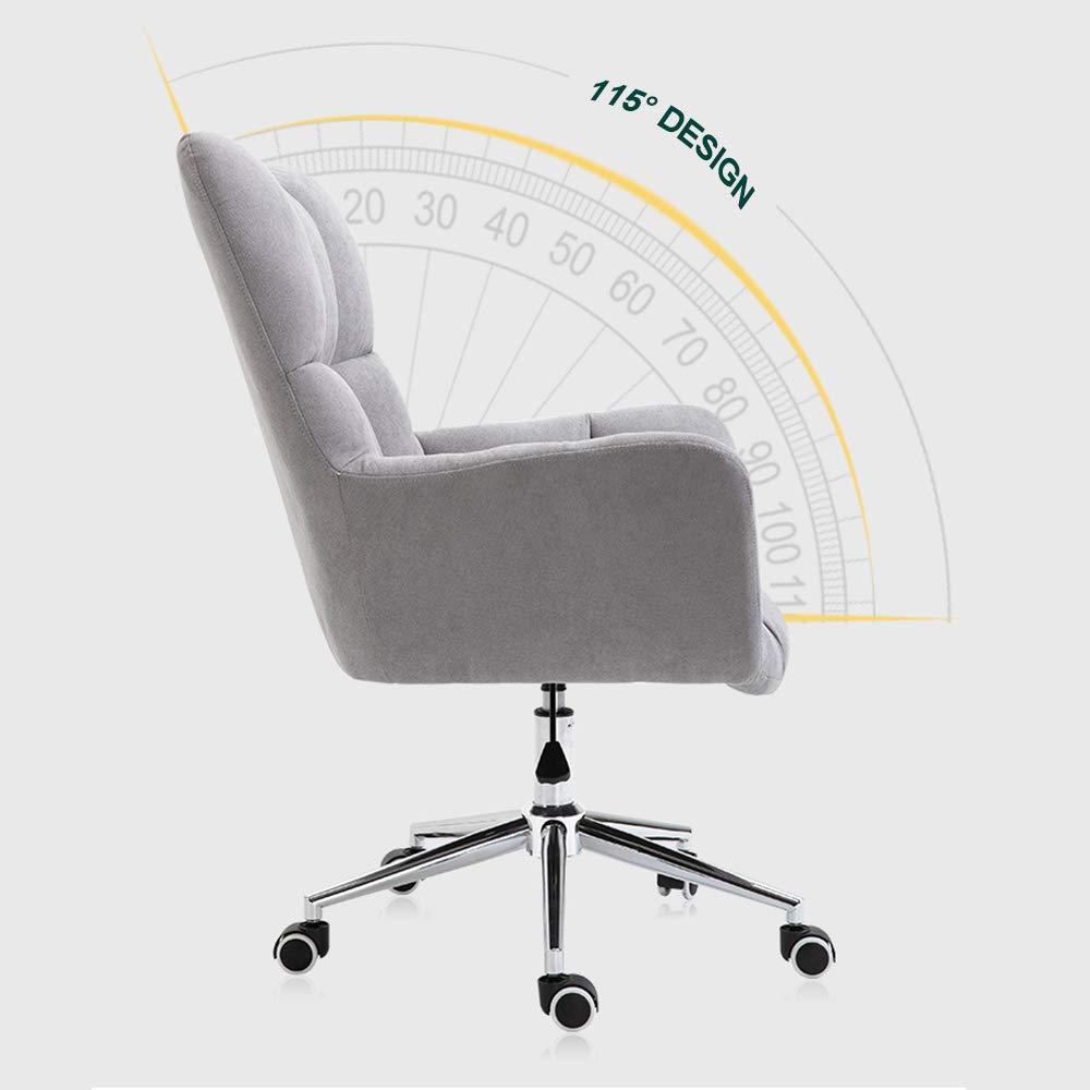 Stolar för kontorsskrivbord modern stil med armstöd och sits stoppad justerbar höjd 17,0 tum–21 tum Grått