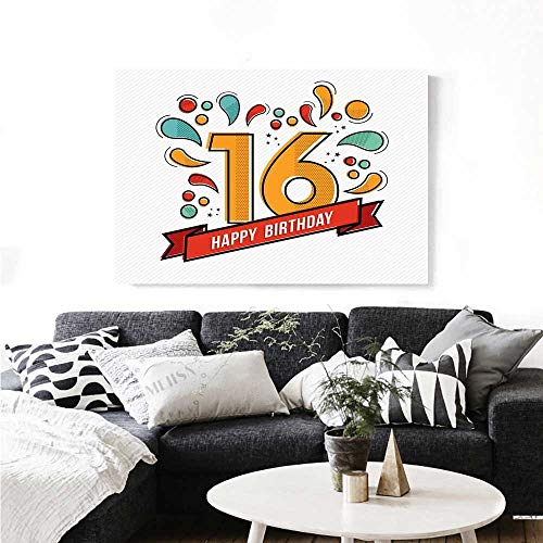 - Warm Family 16th Birthday Canvas Wall Art for Bedroom Home Decorations Festive Age Modern Party Invitation Funky Teenage Typography Artwork Wall Stickers 36