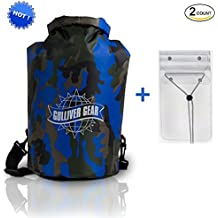 HOT Waterproof Dry Bag Backpack for Kayaking/ Rafting/ Hiking/ Camping/ Fishing/ Hunting/ Snowboarding/ Snowmobiling in Blue Camouflage + BONUS X-Large Universal Waterproof Smartphone Pouch. Cool!