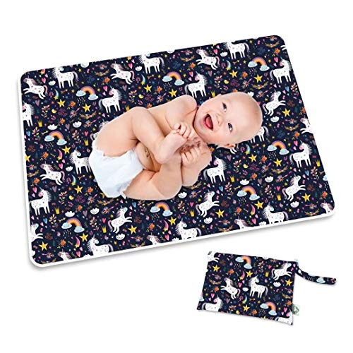 Flockthree Waterproof Baby Changing Pad with Storage Bag (28.7″ X 19.7″) Washable Wipeable Reusable Leak Proof Diaper Travel Mat Station Changing Mattress Liner Cribs Bed Cover, Unicorns