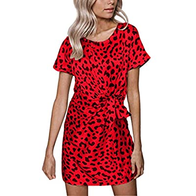 ANJUNIE Women Summer Leopard Print Dress with Belt Lace-up Short Sleeve Straight Mini Dress