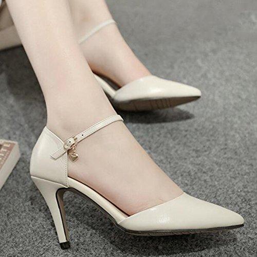 Sandals CJC Womens Closed Toe High Heel PU Leather Ballroom Latin Dance Shoes (Color : 8cm, Size : EU36/UK4) 8cm