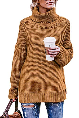 Classic Ribbed Pullover - Ladies Pullover Warm Long Sleeve Tops Classic Ribbed Knit High Neck Tunic Knitwear Chunky Sweater Yellow M