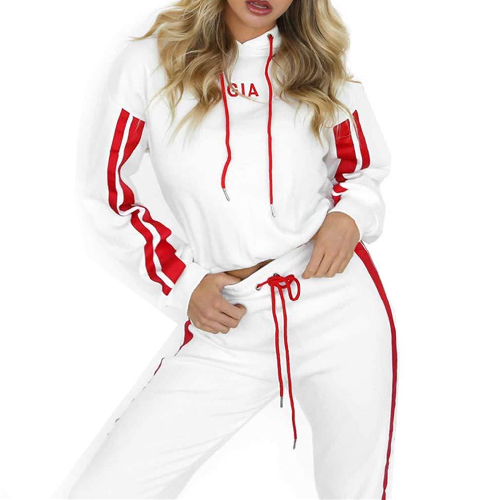 Women's Knit Sport Suit Short Sleeve V-Neck Hooded Top Slim Fit Yoga Pants 2-Piece Set Casual Yoga Set Sport