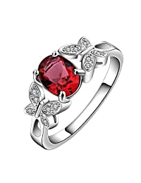 Wedding Jewelry Ruby Rings for Women White Topaz 925 Sterling Silver Fashion Jewelry Size 7 8 R2043