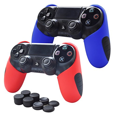 Skin Compatible for PS4 Controller Pandaren Soft Silicone Thicker Half Skin Cover Grip for PS4 /SLIM /PRO Controller (Skin X 2 + FPS Pro Thumb Grip X 8) (Red,Blule)