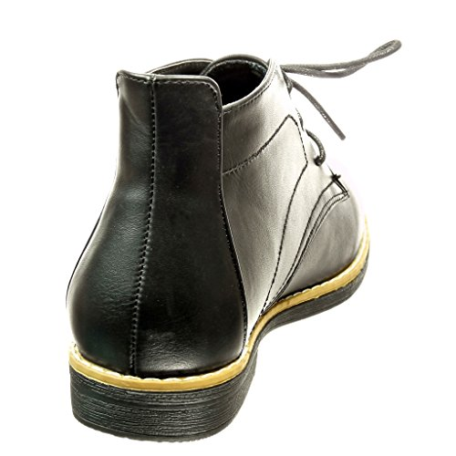 Angkorly Women's Fashion Shoes Ankle boots - Booty - Desert Boots - finish topstitching seams Block Heel 2 CM Black Pu ThtrE