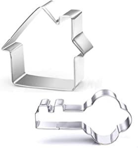 WOTOY Key and House Cookie Cutters Set - Stainless Steel