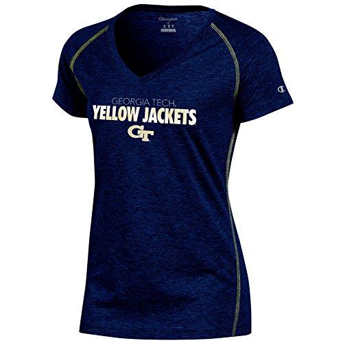 (Champion (CHAFK) NCAA Georgia Tech Women's Short Sleeve V Neck Tee, Large, Navy Heather)