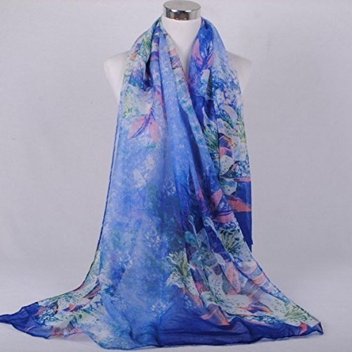 Onlineb2c Cotton Linen Long Scarf Wraps Pashmina Shawls Women Winter Blue