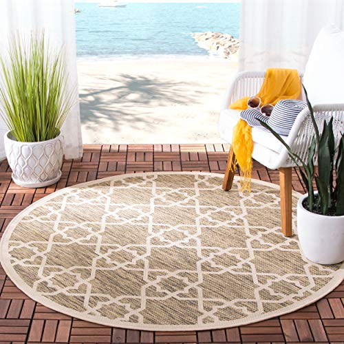 Safavieh Courtyard Collection CY6032-242 Brown and Beige Indoor/ Outdoor Round Area Rug (7'10