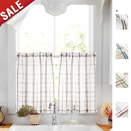 White Check Kitchen Tiers, Linen Look Black and Taupe Gingham Half Window Bathroom Curtains Classic Buffalo Checkered Cafe Curtains, Sold by Pair, 24