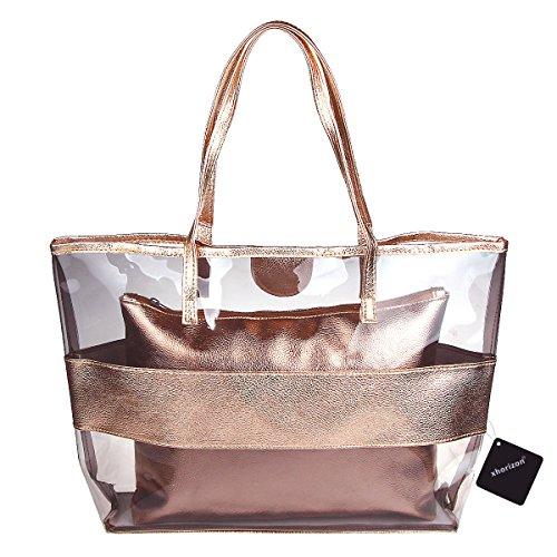 [xhorizon TM FL1 2 in 1 Waterproof Semi-clear Tote Stripe Beach Shoulder Bag (Rose-gold)] (Stripe Shoulder Tote Bag)
