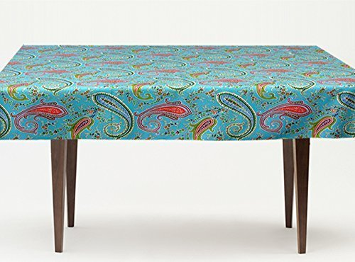 Aqua Turquoise 72 to 130 inches Provence Coated Tablecloth Pashmina - Rectangular or Oval - You Choose the size and the Shape - Indoor and Outdoor Use - Water and Stain Resistant