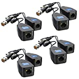 4 Pairs HD-CVI/TVI/AHD Passive Video Balun with Power Connector and RJ45 CAT5 Data Transmitter BNC Twisted Pair