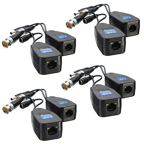 4 Pairs HD-CVI/TVI/AHD Passive Video Balun with Power Connector and RJ45 CAT5 Data Transmitter BNC Twisted Pair (Cctv Transmitter)