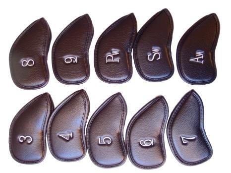 ゴルフ アイアン ヘッド カバー 保護 カバー 合成 皮革 刺繍 番手 入りPUレザー 10個 セット