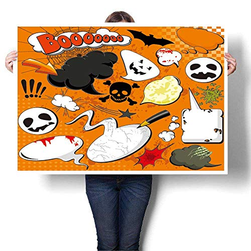 The Picture for Home Decoration,Halloween Comic Speech Bubbles for Your Design Canvas Art Posters Prints Wall Art,16