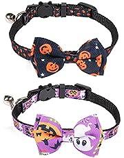 LUTER 2 Pack Halloween Cat Collar Breakaway with Removable Bow Tie with Bell Adjustable Halloween Cat Kitten Accessories Decor (Black, Purple)