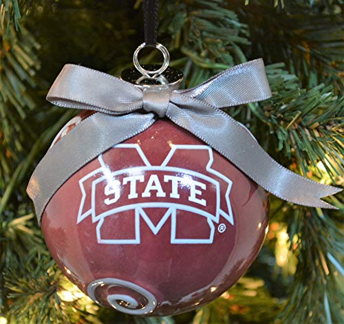 (Mississippi State Bulldogs Ceramic Ball Christmas Ornament )