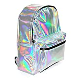 Zicac Students Pupil Fashion PU Bag Colorful Holographic Bling Glitter School Backpack Casual Daypacks (Silver)