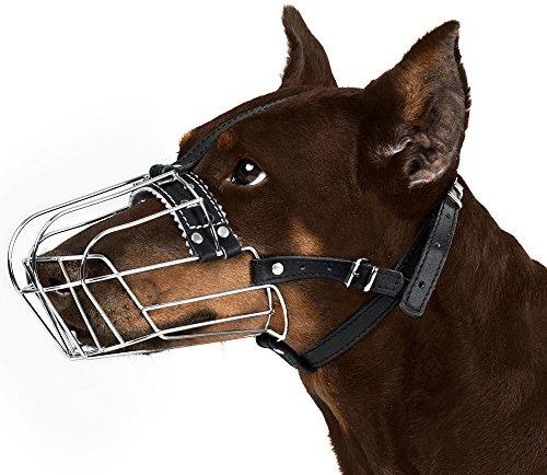BRONZEDOG Wire Basket Dog Muzzle Doberman Metal Dog Muzzle Leather Adjustable M