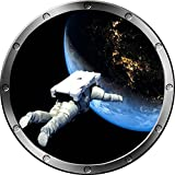 "12"" Porthole Instant Space Ship Window View ASTRONAUT FLOATING #1 SILVER Wall Sticker Kids Decal Room Home Art Décor Graphic SMALL"