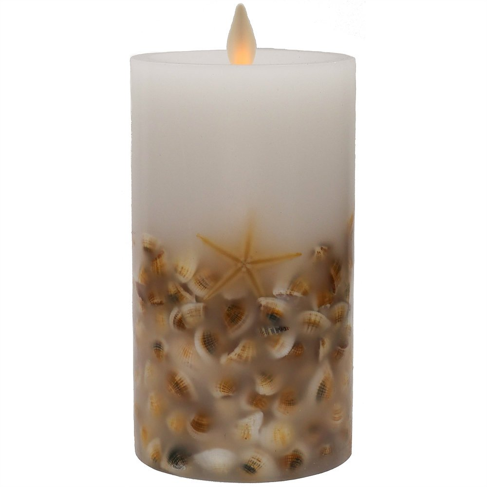 """Hooga Life Sea Shell Flameless Candle – 5"""" Tall x 3"""" Diameter Real Wax Pillar, Battery Operated LED Flickering Wick, Timer - for Safe Indoor and Outdoor Use – Remote Control Ready"""