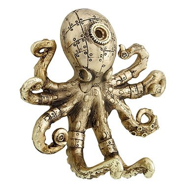 Unicorn Studios AT09043AF Steampunk Gold Octopus Wall Hook44; Antique Gold