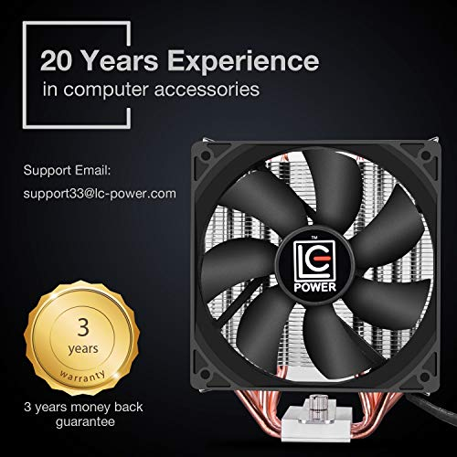 LC-POWER CPU Cooler - Silent CPU Cooler for Computer Gaming High Performance Cooler CPU for LGA 1151, 1155, 1150, 775, AMD3, 4, i5, i7, High Performance & Long Lasting Use, 3 Years Warranty by LC-POWER (Image #6)