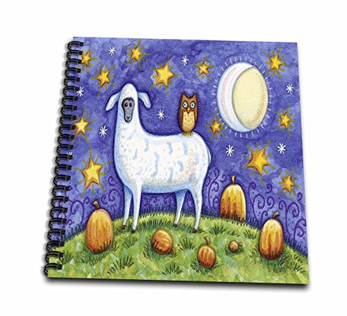 (3dRose Whimsical Sheep and Owl Halloween Scene-Memory Book, 12 by 12