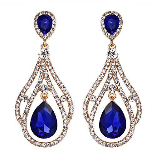 Blue And Gold Costumes - BriLove Wedding Bridal Dangle Earrings for
