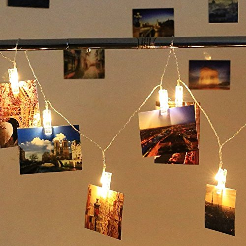 40 LED Photo Clips String Lights - Adecorty USB Powered Christmas String Lights for Wedding Party Home Dorm Wall Decor, Clips Lights for Christmas Cards Photos, Best Gifts for Teen Girls (Warm White) by Adecorty (Image #8)