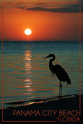 Panama City Beach, Florida - Heron and Sunset (12x18 SIGNED Print Master Art Print w/ Certificate of Authenticity - Wall Decor Travel - Beach Sunset Time Panama City