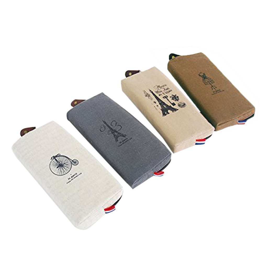 Eforstore 4 Pcs Pastorable Canvas Pen Bag Pencil Case Cosmetic Makeup Bag Pouch (4Pcs Paris Eiffel Tower)