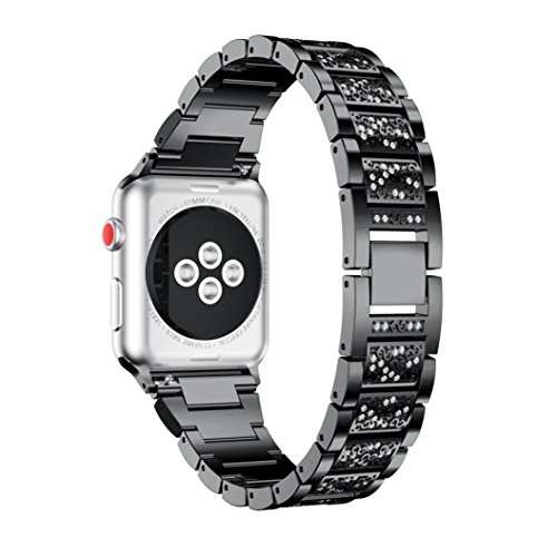Price comparison product image Apple Watch Series Band , Luxury Alloy Crystal Watch Band Wrist Strap For Apple Watch Series 3 42MM (Black)