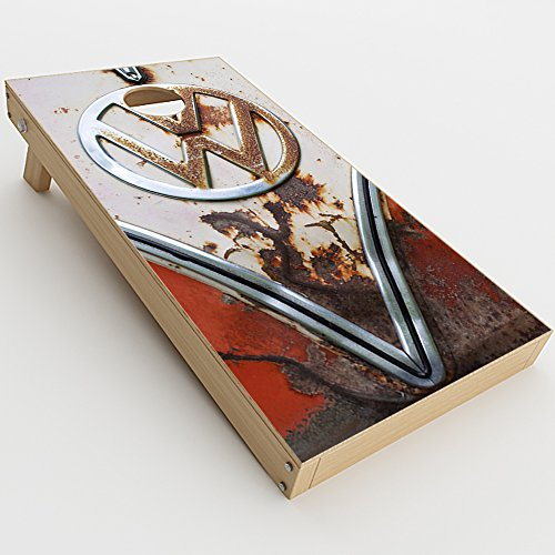 Skin Decal Vinyl Wrap for Cornhole Game Board Bag Toss (2xpcs.) Skins Stickers Cover / VW Bus Rust, Split Window van