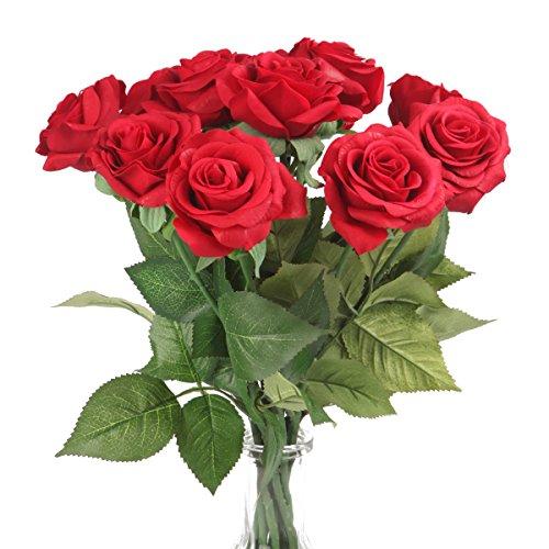 Silk Rose 17 Artificial Flowers As Natural -Louis Garden (3, Red)