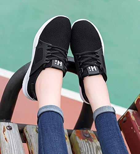 Malla Deporte de Malla Zapatillas de 34 Malla 2018 Ocasionales Zapatos Zapatos Zapatillas de Mujer Deporte de Punto Color de Negro tamaño de 4qxTqB