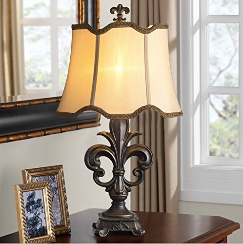 MILUCE Retro European Luxury Table Lamp Bedroom Bedside Table Lamp Classical by MILUCE (Image #1)
