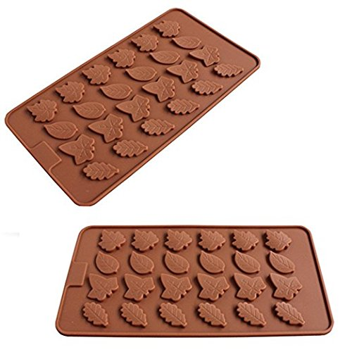 (2 Pack - 24 Cavity Maple Leaves Ice Cube Tray Fondant Silicone Pie Crust Mold Sugar Chocolate Mold Candy Molds)