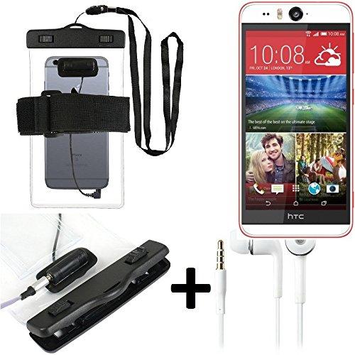 Estuche estanco al agua con entrada de auriculares para HTC Desire Eye + auricular incluido, transparente   Trotar bolsa de playa al aire libre caja brazalete del teléfono caso de cáscara bajo playa -