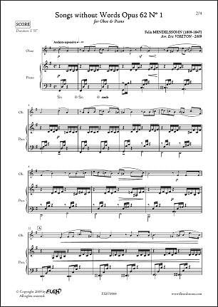 PARTITURA CLASICA - Songs without Words Opus 62 No. 1 - F ...