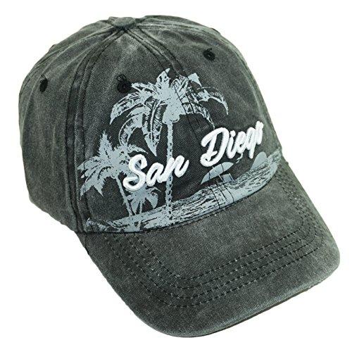 (Bingoo USA City Embroidered Hat Adjustable Landscape Cotton Baseball Cap (San Diego-Black))