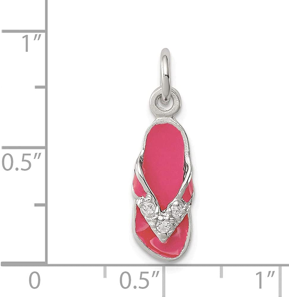 925 Sterling Silver Cubic Zirconia and Pink Enameled Flip Flop Charm and Pendant