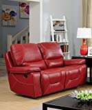 Newburg Red Manual Recliner Loveseat by Furniture of America