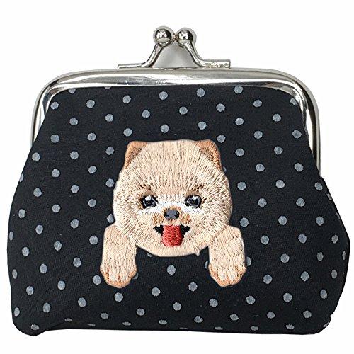 [ POMERANIAN ] Cute Embroidered Puppy Dog Buckle Coin Purse Wallet [ Black Polka Dots ] (Pomeranian Coin Purse)